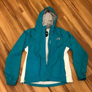 North Face Teal Blue & White Rain Jacket